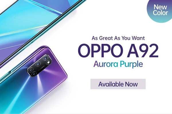 Oppo rilis varian warna baru A92 Aurora Purple