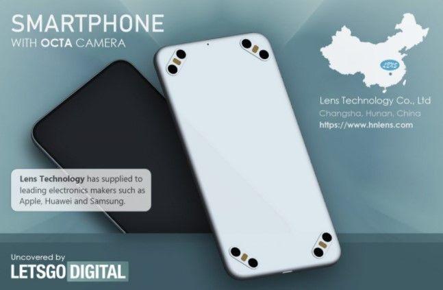 Lens Technology patenkan smartphone dengan pengaturan delapan kamera belakang