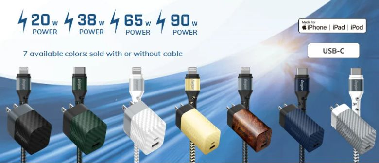 Energizer meluncurkan rangkaian pengisi daya PD cepat 20W-90W GaN